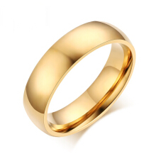 Jantens 6mm Classic Wedding Ring Stainless Steel US size gold color