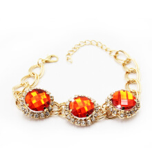 Jantens Color Chain Link Bracelet for  Crystal Jewelry Men Women Red