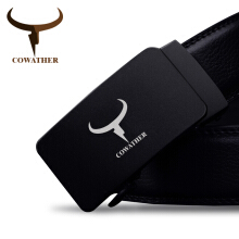 COWATHER 100% high grade cow genuine leather automatic buckle belt for men