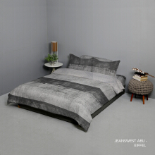 KING RABBIT Bedcover & Set Sprei Sarung Bantal King Motif Jeanswest - Abu / 180x200x40cm Grey