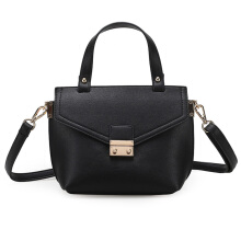 [LESHP]Simple All Match Woman PU Single Shoulder Bag Handbag Cross Street Style Black