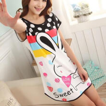 Farfi Women Fashion Summer Cartoon Rabbit Polka Dot Pajamas Short Sleeve Sleepwear as the pictures
