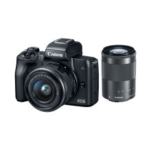 Canon EOS M50 Kit EF-M 15-45mm f/3.5-6.3 IS STM + EF-M 55-200mm f/4.5-6.3 IS STM (Black) Black