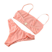 [kingstore] Comfortable Women Sexy Bikinis Set Casual Solid Color Ladies Bathing Suits Pink Size S