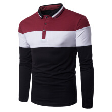 Fashionmall Casual Turn-down Collar Long Sleeve Button Color Blocking Men T-shirt
