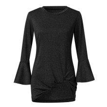 BESSKY Women Shirt 3/4 Bell Sleeve Tshirt Ruched Loose Top Ruffle Blouses _