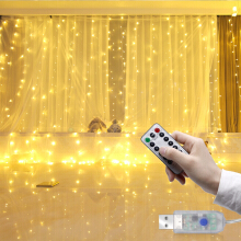 LUSTREON 3M*3M USB 15W IP67 8 Modes Remote Control 300 LED Curtain Fairy String Holiday Light DC5V Pure white