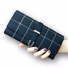 Jantens AOEO Ladies Purse Panjang Kotak-kotak PU Kulit Mode Buckle Coin Purse 10 Pemegang Kartu Lady Dompet