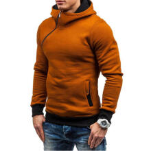 Farfi Men's Autumn Winter Color Block Slanted Zipper Hoodie Hooded Sweatshirt