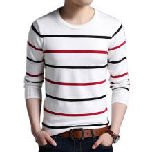 Farfi Striped Long Sleeve Round Neck Sweater Knitwear Men Soft Pullover Top