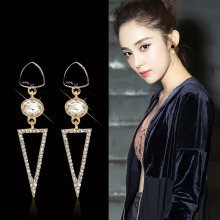 YOOHUI Long alloy fashion Europe and America retro crystal flash drill triangle earrings Silver
