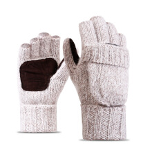 SiYing Fashion Half Finger Flap Wool Men's Knit Warm Gloves