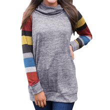 BESSKY Women Casual Cowl Neck Printed Striped Long Sleeve Top Sweatshirt Blouse_