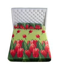 NYENYAK Tulip Garden Fitted Sheet - Green 160 x 200 x 20 - 2 Bantal