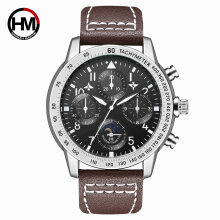 Quartz watches Men's Watch Hannah Martin HM-2256 Casual Mens Quartz Wristwatch Leather Business Watch