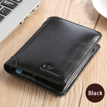 Zanzea 0051Men Genuine Leather Vintage Short Wallet Slim Money Card Holder with 11 Card Slots Brown