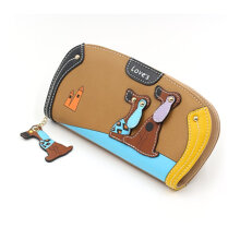 [LESHP]Cute Dog Design Women Wallets Soft PU Leather Money Coin Credit Card Purse Bag Yellow