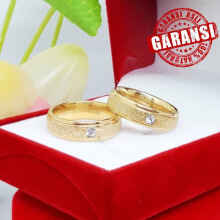 Gemstone - Cincin Kawin Tunangan Couple Titanium Emas Diamond - Size 9
