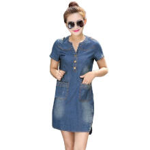 2017 Summer Mini Sexy Hip Denim Dress_L