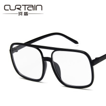 Curtain 2018 new fashion transparent flat mirror retro big square glasses frame fashion glasses