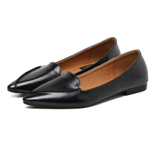 Stylish Pointed Toe Comfy Flats Black 37