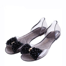Jantens 2018 Summer Sandals Women Bling Bowtie Fashion Peep Toe Jelly Shoes Sandal Transparent PVC Flat Shoes Woman