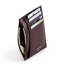 Faire Leather Co - Specter VT Card Wallet (Dark Brown) | Slim Leather Wallet