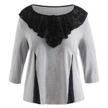 WEDO Plus Size Ruffle Floral Lace Detail Top Three Quarter Sleeve Round Neck Grey L