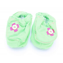 Cribcot Booties with Ribbon - Lime Green & Hot Pink  3 -6M