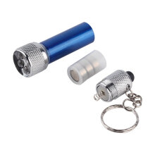 [kingstore]Portable 5 LED Mini Flashlight Light Torch Aluminum Keychain KeyRing Chain Blue Blue