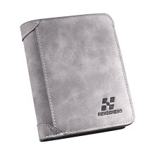 [COZIME] Vintage Three Fold Ultra-thin Frosted Short Wallet Men Coin Card Holder Purse Gray