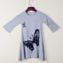 Farfi Toddler Baby Girls Long Sleeve Elegant Butterfly Loose Dress Kids Clothes