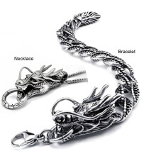 SESIBI 2pcs/set Man Ti Vintage retro Dragon Pendant Necklace, Exaggeration Hipster Bracelet