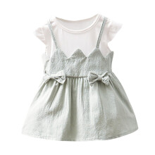 BESSKY  Summer Newborn Toddler Baby Girls Bowknot Patchwork Strap Casual Dress Clothes_