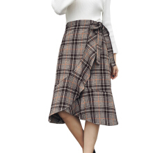 Jantens Vintage Plaid Mermaid Skirt Fashion Lace Wool Long Skirt Ruffle Korean Casual High Waist Women Skirt coffee One size