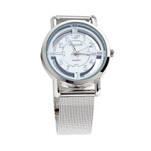 [LESHP]Women Lady Fashion Stainless Steel Mesh Analog Bracelet Wrist Watch White