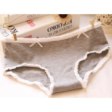 Lovely Decorative Bowknot Cute Young Girls Elastic Underpants Briefs Underwear Grey