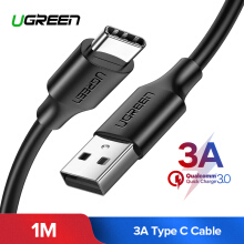 UGREEN Kabel USB-C 1Meter Type C Cable Fast Charging for Xiaomi pocophone F1, LG G5, Samsung s9 Samsung note 8 Xiaomi MIX 2 Handphone USB C Charging and Sync Data Cord (Black)