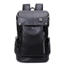 Jantens Leather men backpack travel bag anti-theft backpack men fashion waterproof design anti-theft Black