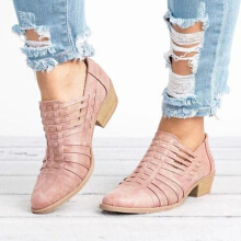 Pointed Toe Square Heel Casual Shoes Pink 38