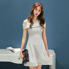Ninataly New High-waist A-line women Dress Shoulder Summer Pure Color Lace Stitching Sweet Beauty Dress Grey S