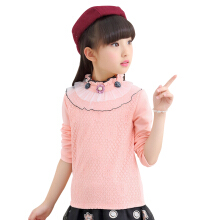 SiYing Fashion Solid Color Turtleneck Lace Girl Long Sleeve T-Shirt