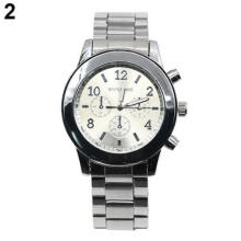 Farfi Men Women Simple Stainless Steel Strap Quartz Round Dial Wrist Watch