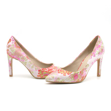 Shallow Birdcage High Heels Bling Embroidery Pumps For Women Pink 38