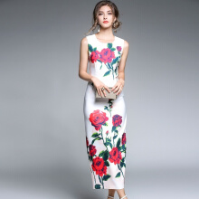 Allgood Fashion  New Lady Printed women Floral Dress Retro Elegant Sleeveless Show Thin Mandarin Gown dresses