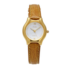 ALBA Jam Tangan Wanita - Brown Gold White - Leather Strap - ATCX08
