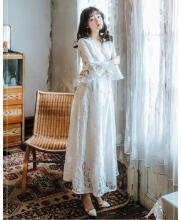 Ninataly Gaun Peri Panjang Wanita Gaun Renda Putih Tunic Slit Hollow Dress Ruffle White S