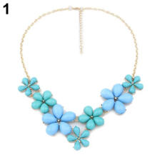 Farfi Women's Fashion Jewelry Sweet Daily Flowers Bib Statement Collar Necklace Blue