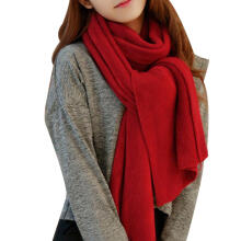 Farfi Fashion Knitted Scarf Shawl Solid Color Women Winter Neck Warm Wrap Wine Red