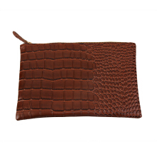 [LESHP]Fashionable Women Crocodile Pattern PU Handbag Party Evening Envelope  Bag brown